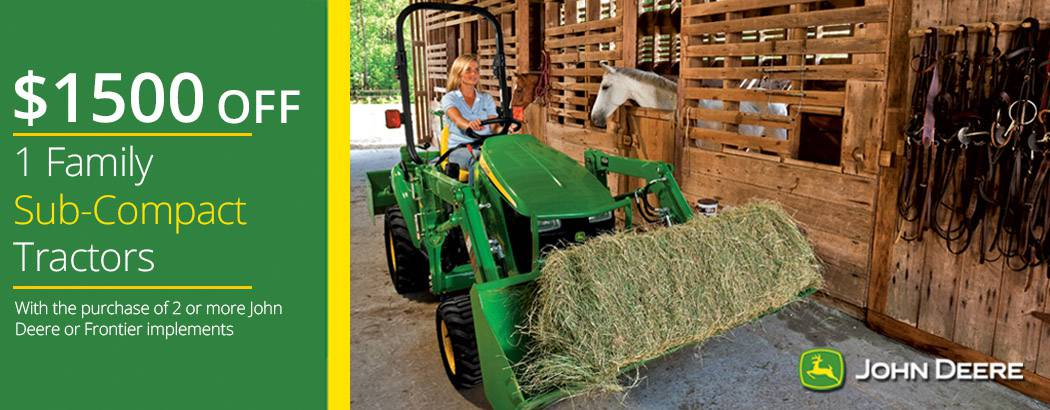Save $1500 on John Deere 1 Family Sub-Compact Utility Tractor Packages