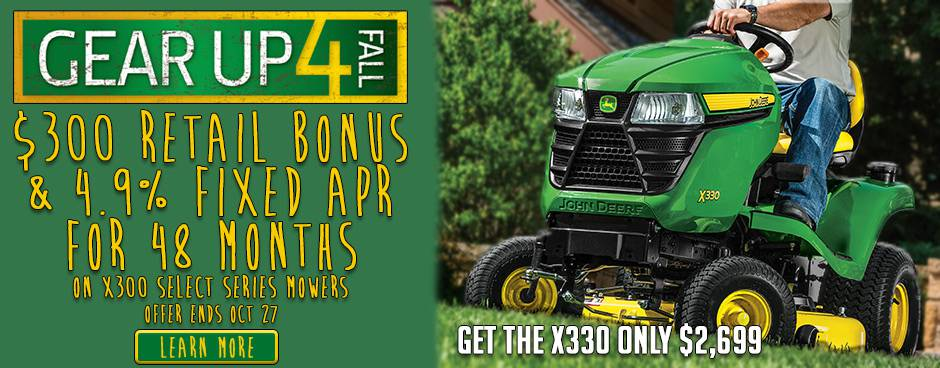 Gear Up For Fall John Deere X330 at Mutton Power