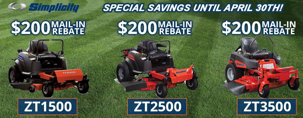 Take advantage of Special Discounts and Rebates on Simplicity Zero Turn Lawn Mowers
