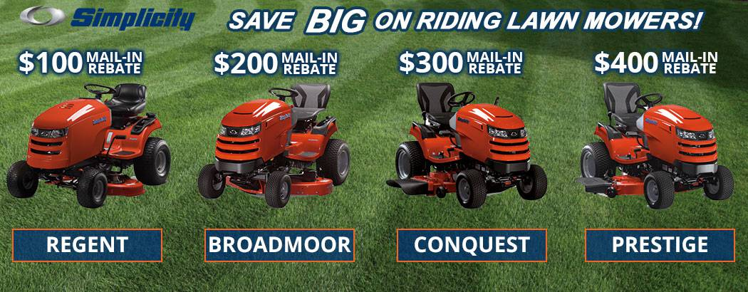 Save up to $400 on Simplicity Riding Lawn Mowers!
