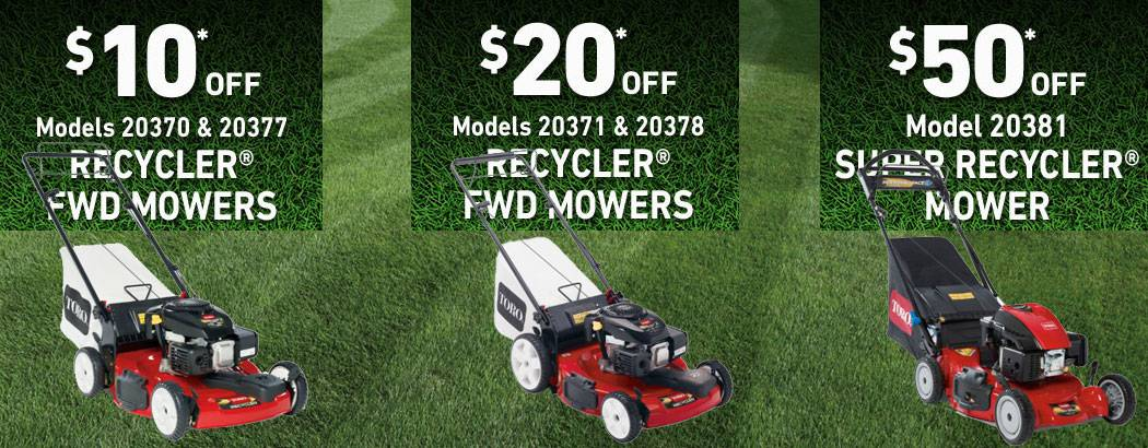 Save on Toro Recycler and Super recycler Walk Behind Lawn Mowers