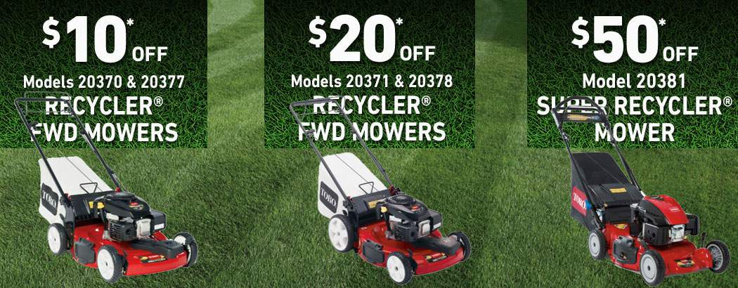 Save up to $50 on Toro Walk Behind Recycler and Super Recycler Lawn Mowers!