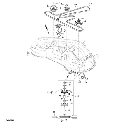 John Deere Deck Parts Diagram likewise John Deere Sx75 Belt Replacement Diagram furthermore Cub Cadet Zero Turn Belt Diagram additionally John Deere 116 Belt Diagram likewise Z235 John Deere Drive Belt Diagram. on john deere rx75 wiring diagram