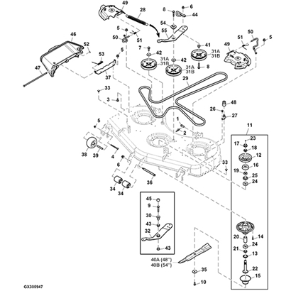 john deere z535r z540r 48 54 mower deck parts diagram 14605 john deere z540r z trak parts john deere m655 parts diagram at aneh.co