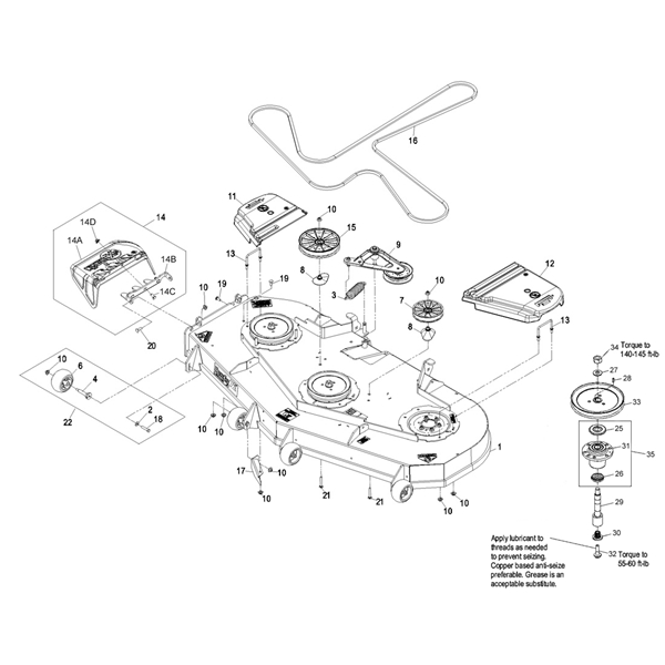 P 14105 Exmark 72 Lazer Z Deck Parts Diagram 2009 2010