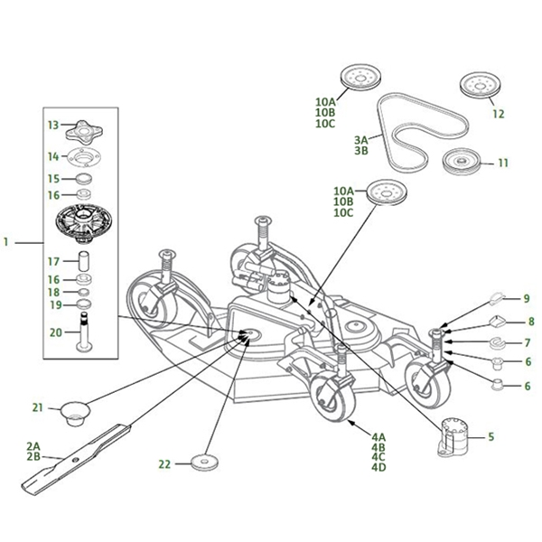 John Deere 1600 Turbo Ii With Side Wings Deck Parts Diagram