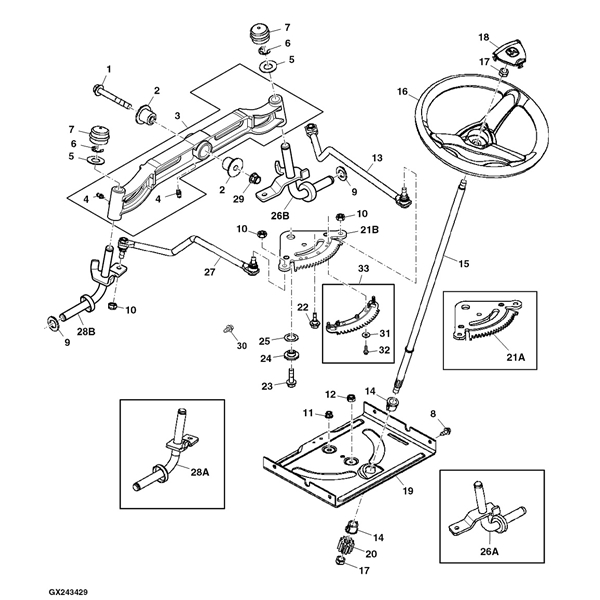 john deere d100 series steering parts diagram sn pre 700000 13054 john deere d100 lawn tractor parts john deere m655 parts diagram at aneh.co
