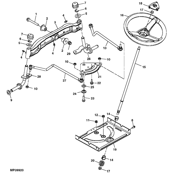 john deere la105 series steering parts