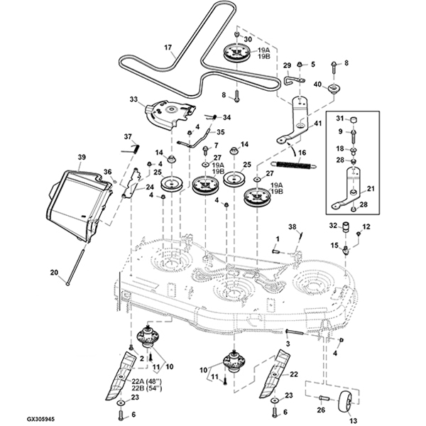 P 14603 John Deere Z525e Z535m Z540m 48 54 Mower Deck Parts Diagram