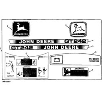 John Deere GT242 Decal Kit - AM118184