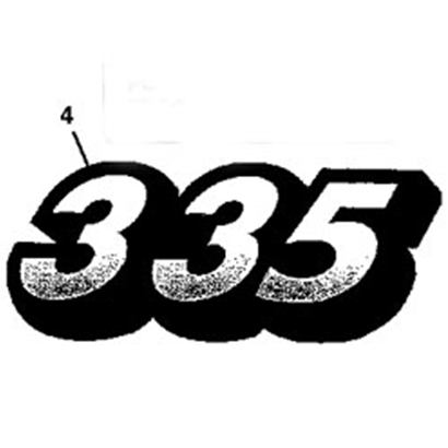 John Deere 335 Model Number Decal - M134882
