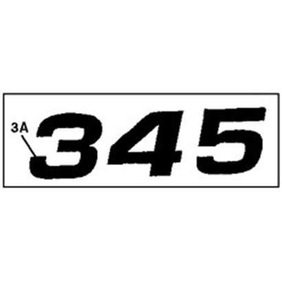 John Deere 345 Model Number Decal - M118872