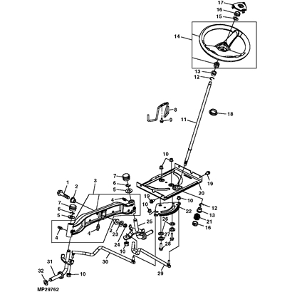 John Deere L100 Series Steering Parts Diagram