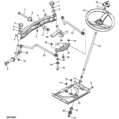 John Deere La Series Steering Parts Diagram