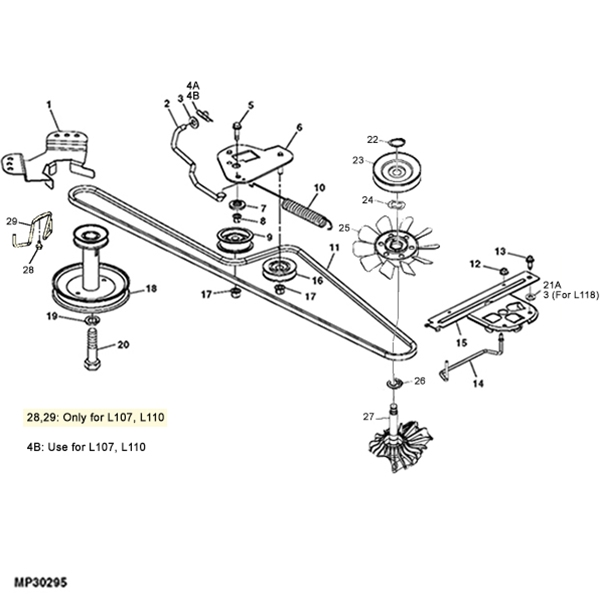 john deere l100 series hydro parts diagram