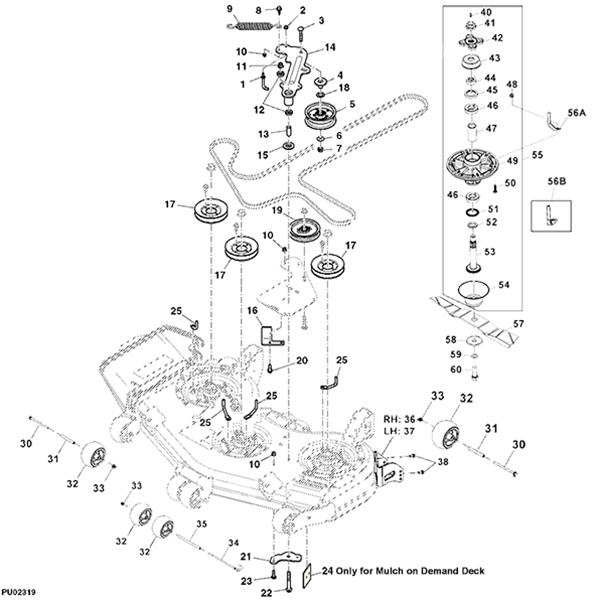 Hydrostatic Transmission Tuff Torq 918 07009 likewise Snapper Rear Engine Diagram as well Gravely Zero Turn Belt Diagram furthermore Vam John Deere Gt275 Parts Diagram also John Deere 54 Deck 100 Series. on john deere lawn mower spindle