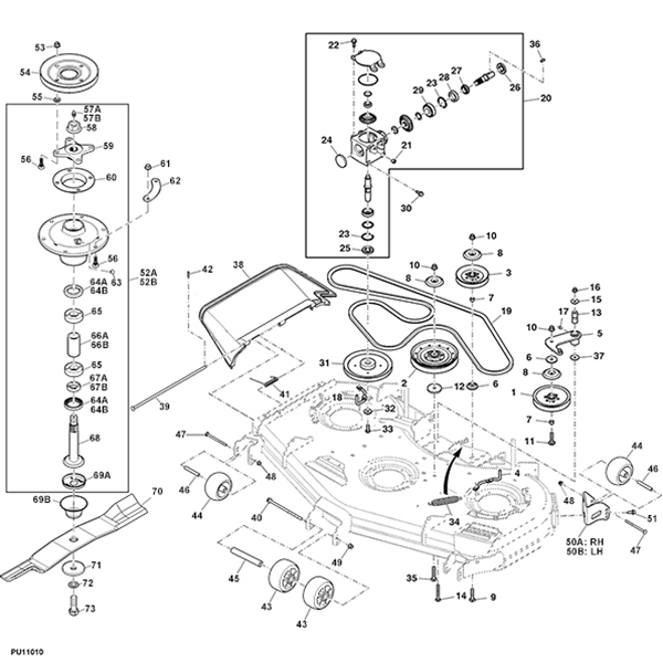 P 14579 John Deere 997 60 Rear Discharge Mower Deck Parts Diagram likewise John Deere Throttle Cable Assembly GY21881 in addition John Deere Blade Spindle Housing Assembly AM144425 together with 18hp 19hp 20hp together with Cub Cadet Lawnmower Decks Ebay. on zero turn lawn mower brands